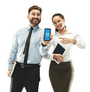 empleados usando mobile